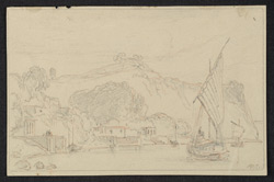 Scene, probably on the Ganges with temples on the river bank; sailing boat in foreground